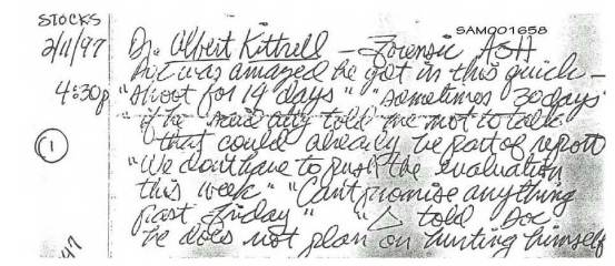 2.11.97 hs note re Kittrell